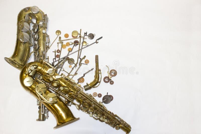 Saxofones, detalhes e almofadas imagens de stock royalty free