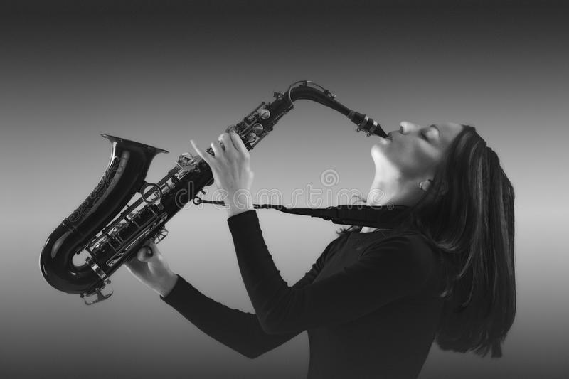 Saxofonist stock afbeelding