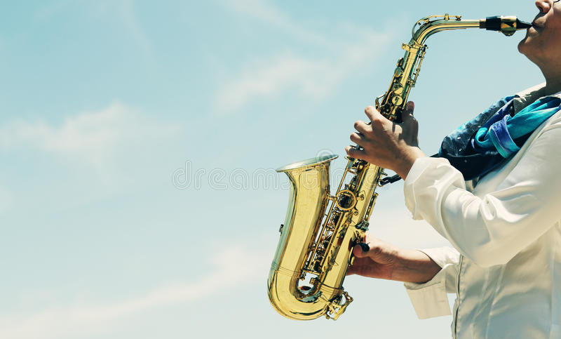 saxofonist royaltyfri fotografi