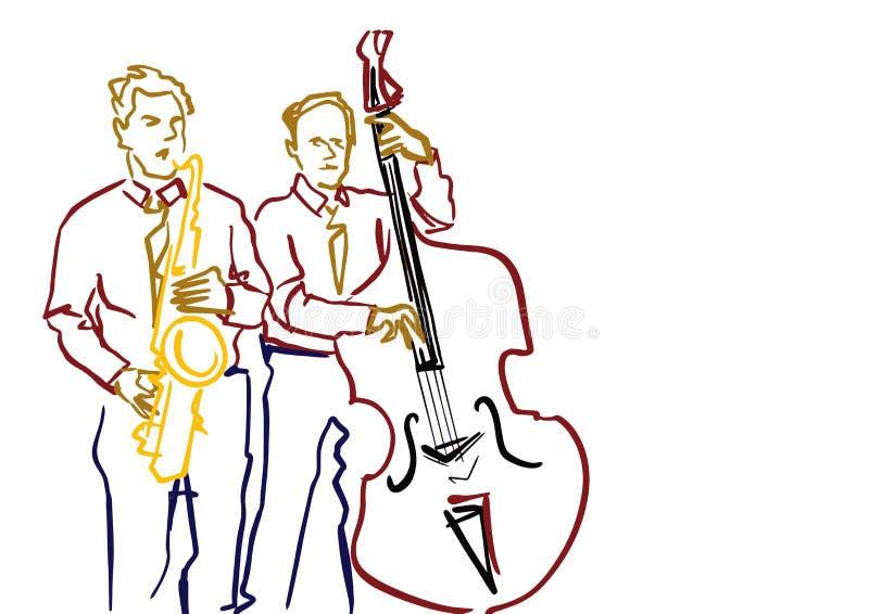 Saxofonist en contrabasspeler De illustratie van de jazzband stock illustratie