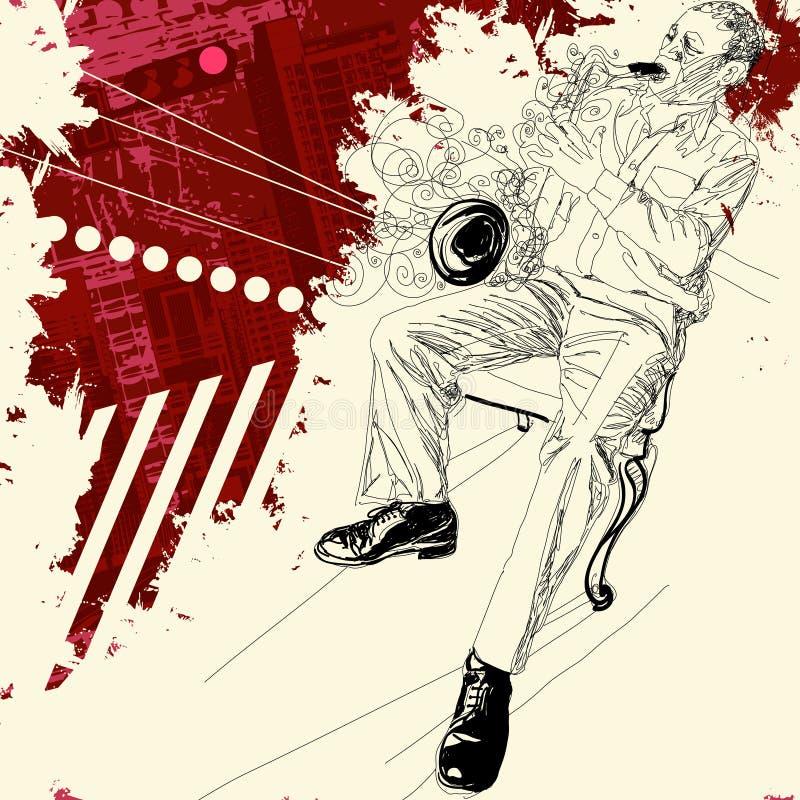 Saxofonist på en grungebakgrund stock illustrationer