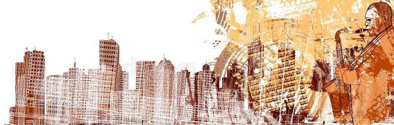 Saxofonista em um fundo grunged ilustração do vetor
