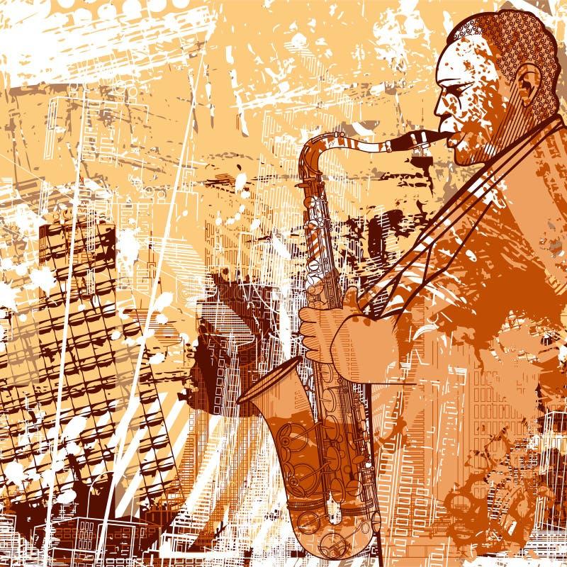 Saxofonista en un fondo del grunge stock de ilustración