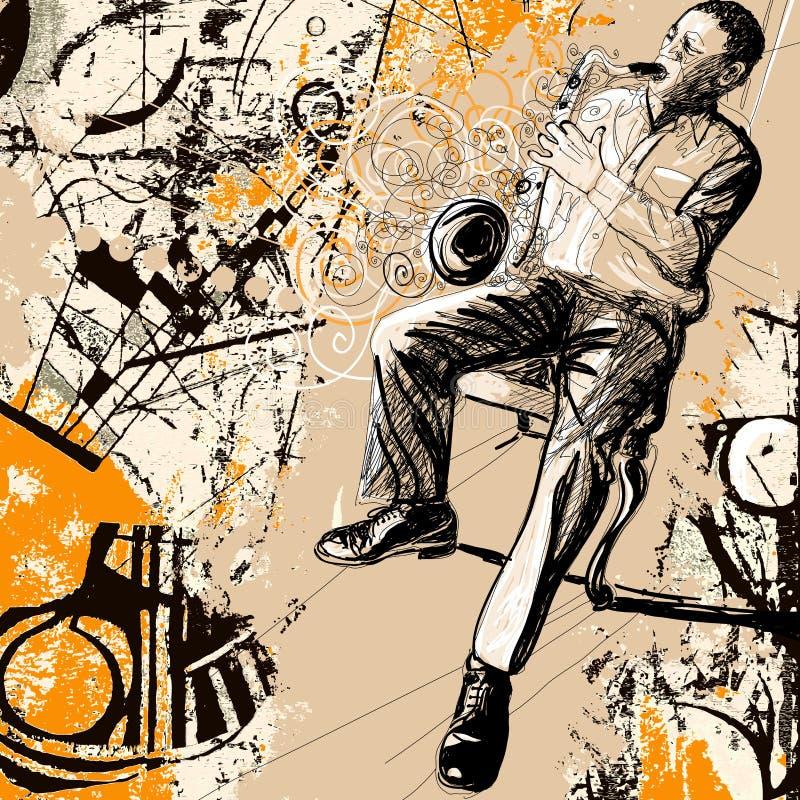 Saxofonista en un fondo del grunge ilustración del vector