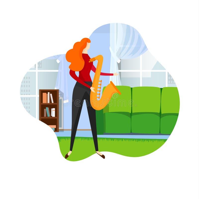 Saxofonista fêmea Playing Jazz Melody no saxofone ilustração stock