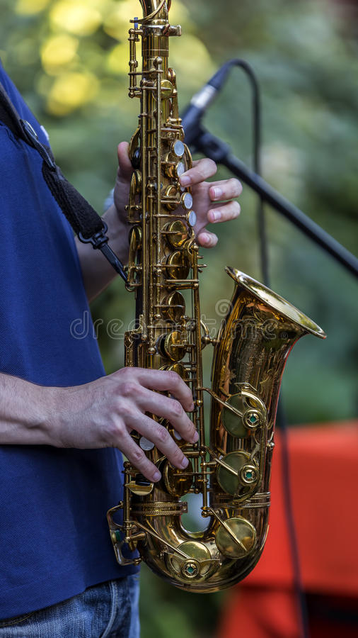 Saxofonspelare royaltyfri bild