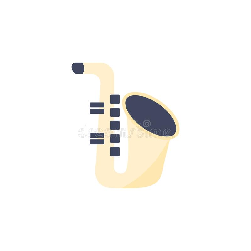 Saxofonsymbol Isolerat musikinstrument royaltyfri illustrationer
