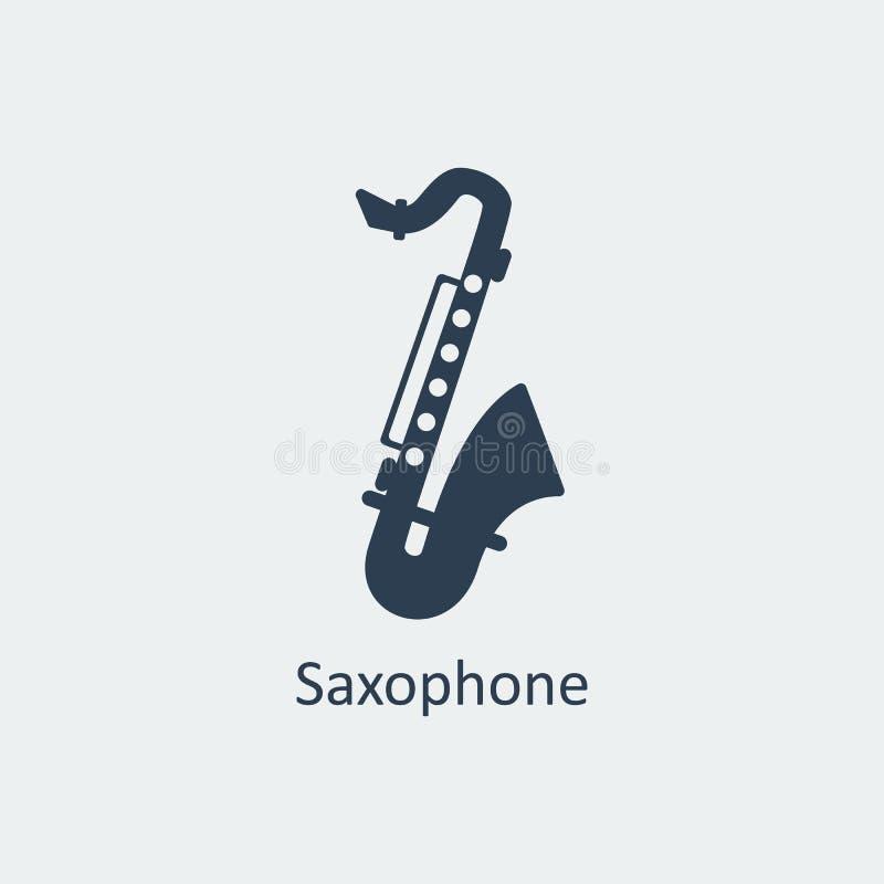 Saxofonsymbol Konturvektorsymbol vektor illustrationer