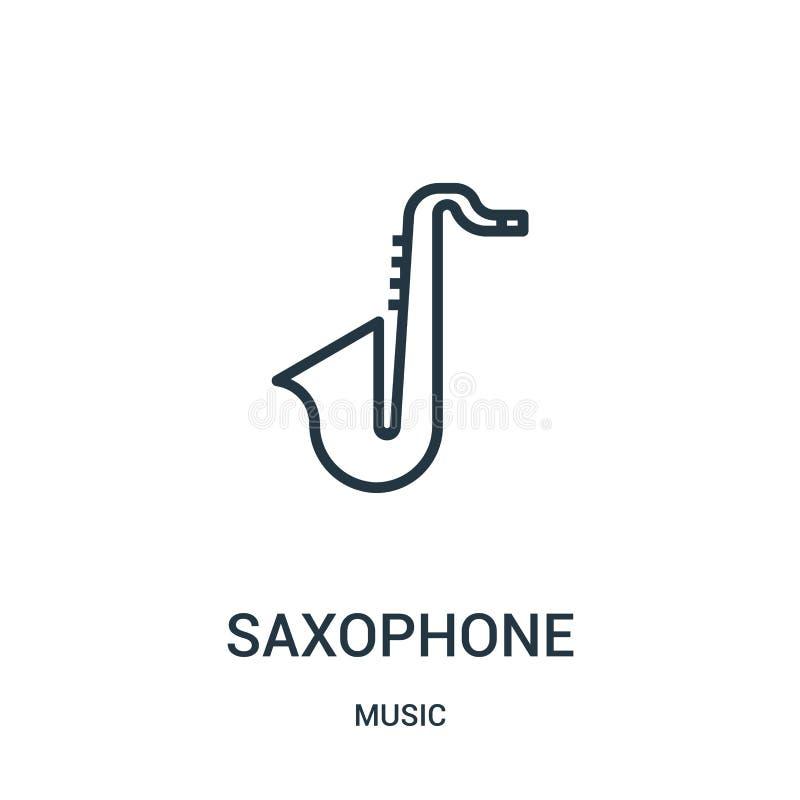 saxofonsymbolsvektor från musiksamling Tunn linje illustration för vektor för saxofonöversiktssymbol royaltyfri illustrationer