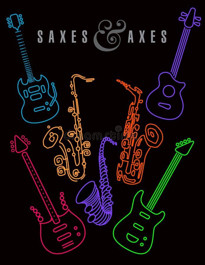 Saxofoons en assen in neonkleuren op een zwarte achtergrond royalty-vrije illustratie