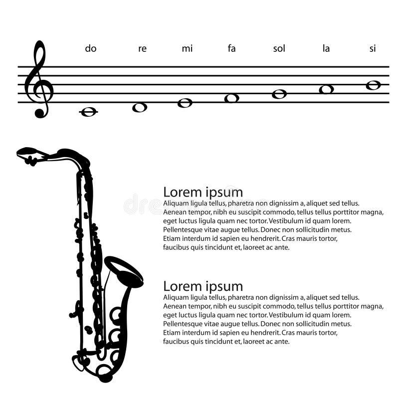Saxofoonsaxofonist, Abstracte g-sleutel, nota's Vectorachtergrond royalty-vrije illustratie