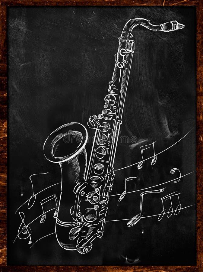 Saxofoontekening die op bord schetsen vector illustratie