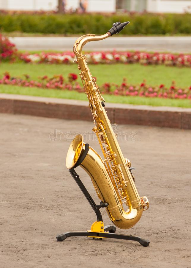 Saxofoontribunes op tribune op grond in park stock afbeelding
