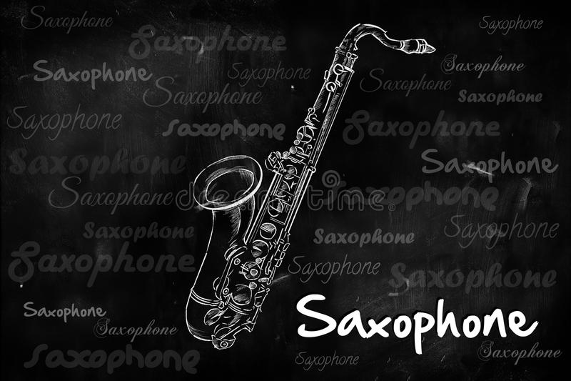 Saxofoontypografie die op bord schetsen royalty-vrije illustratie