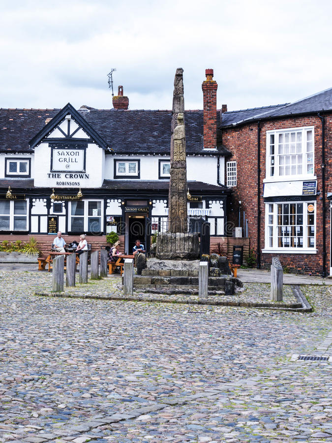 Saxon Crosses in the Picturesque Town of Sandbach in South Cheshire England. Sandbach has an important historical feature on the cobbled market square, two Saxon stock photography