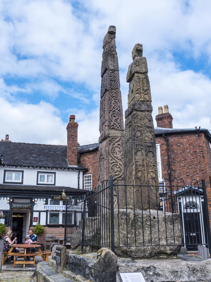 Saxon Crosses in the Picturesque Town of Sandbach in South Cheshire England. Sandbach has an important historical feature on the cobbled market square, two Saxon royalty free stock photography