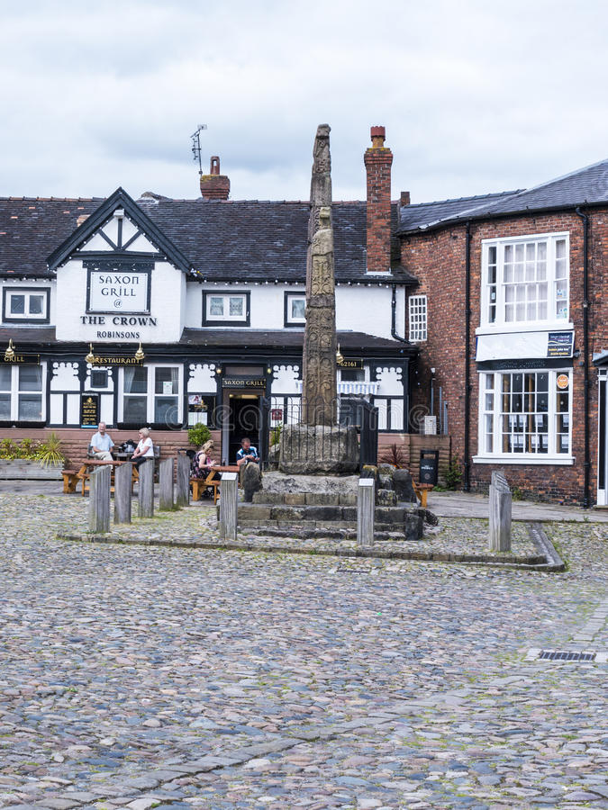 Saxon Crosses in the Picturesque Town of Sandbach in South Cheshire England. Sandbach has an important historical feature on the cobbled market square, two Saxon stock image