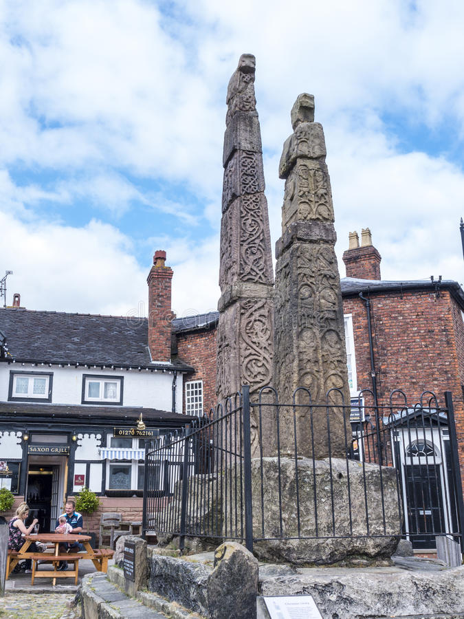 Saxon Crosses in the Picturesque Town of Sandbach in South Cheshire England. Sandbach has an important historical feature on the cobbled market square, two Saxon royalty free stock photos