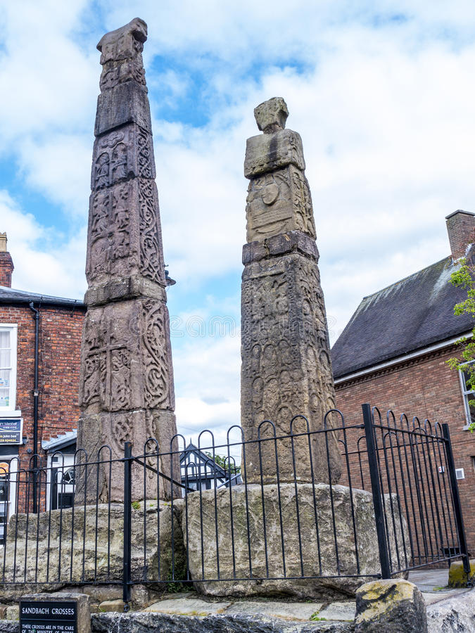 Saxon Crosses in the Picturesque Town of Sandbach in South Cheshire England. Sandbach has an important historical feature on the cobbled market square, two Saxon stock images