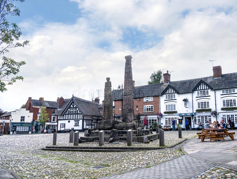 Saxon Crosses in the Picturesque Town of Sandbach in South Cheshire England. Sandbach has an important historical feature on the cobbled market square, two Saxon stock photos