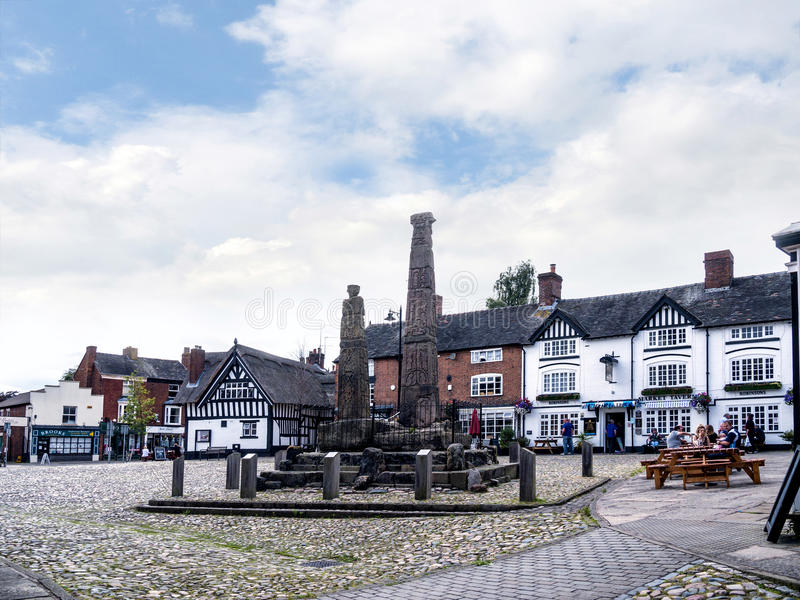 Saxon Crosses in the Picturesque Town of Sandbach in South Cheshire England. Sandbach has an important historical feature on the cobbled market square, two Saxon royalty free stock images