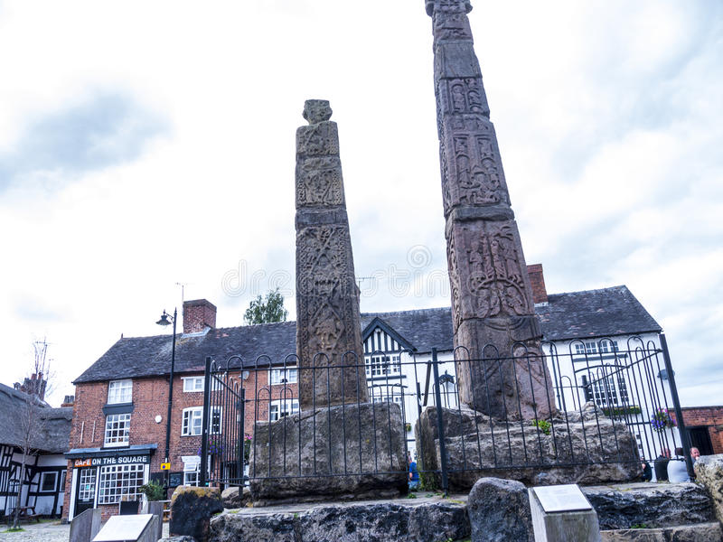 Saxon Crosses in the Picturesque Town of Sandbach in South Cheshire England. Sandbach has an important historical feature on the cobbled market square, two Saxon royalty free stock photo