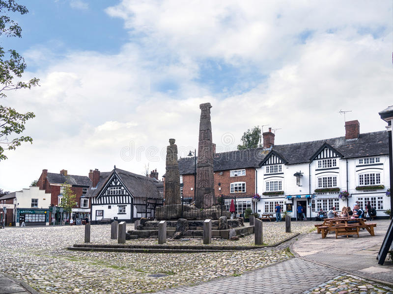 Saxon Crosses in the Picturesque Town of Sandbach in South Cheshire England. Sandbach has an important historical feature on the cobbled market square, two Saxon stock photo