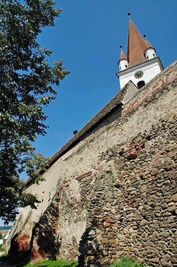 Saxon fortified church. Cristian, Transylvania stock photos