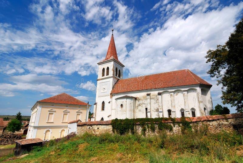 Saxon fortified church in Transylvania, Romania stock photo