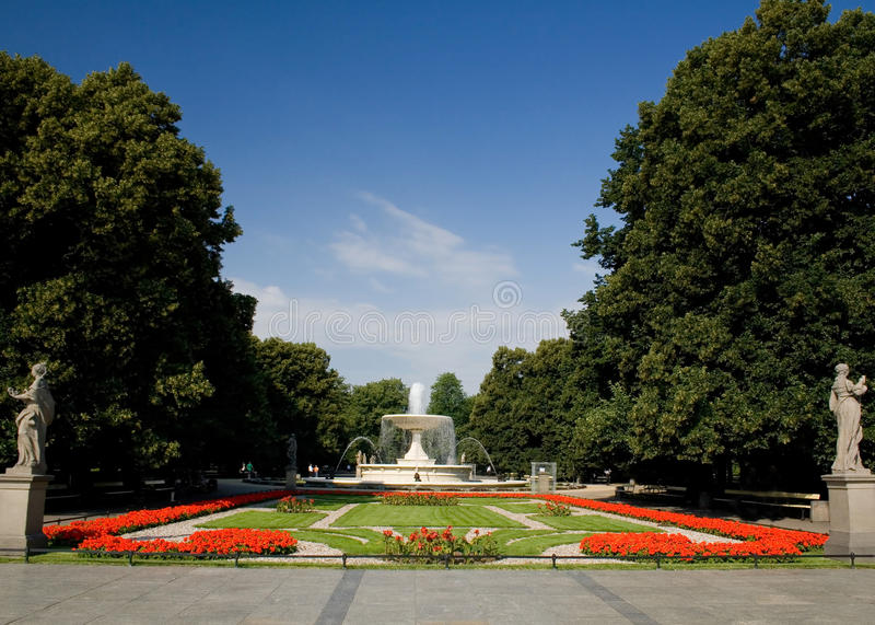 The Saxon Garden, Warsaw. The Saxon Garden is a public garden in Warsaw's Downtown , facing Piłsudski Square, and is the oldest public park in Warsaw royalty free stock photography