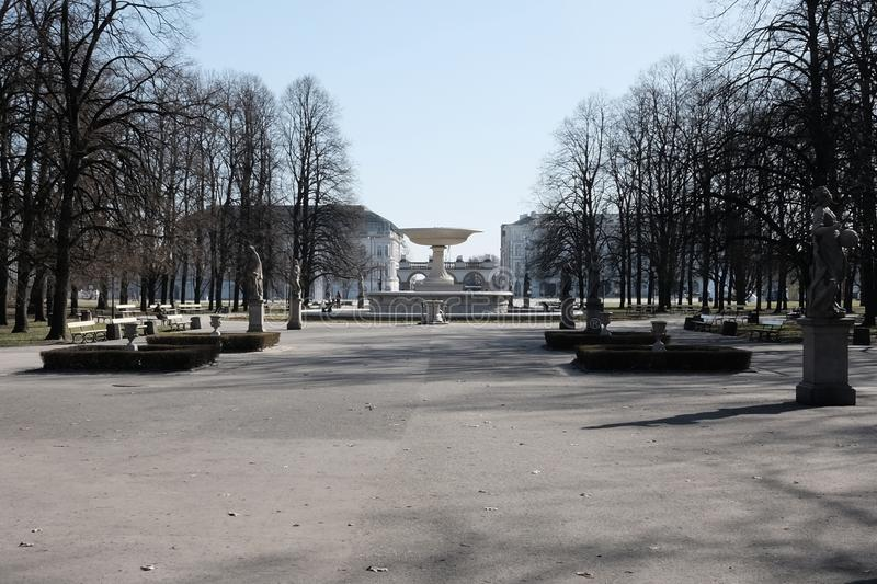 The Saxon gardens in Warsaw stock photography