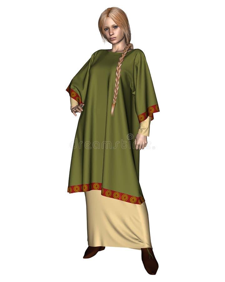 Saxon ou femme de Viking dans la tunique verte illustration libre de droits