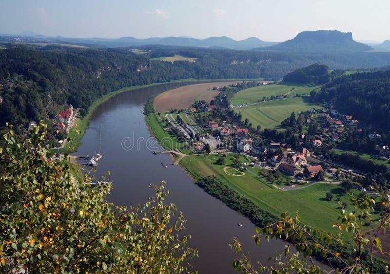 Saxon Switzerland. Elba River, forest, town, top view. Saxon Switzerland. View on the Elba River, mountains, town, vegetation royalty free stock photo