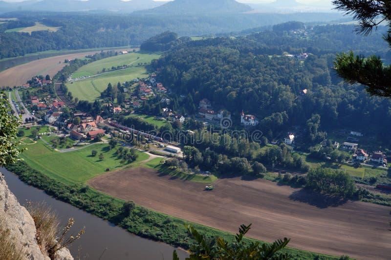 Saxon Switzerland. Elba River, peak, forest, town. Saxon Switzerland. View on the Elba River, mountains, town, forest stock photos