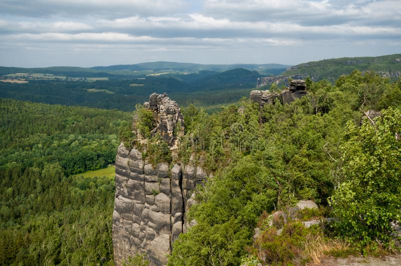 Saxon Switzerland National Park rocky and green trees landscape. Saxon Switzerland National Park in the German Free State of Saxony, near the Saxon capital stock photo