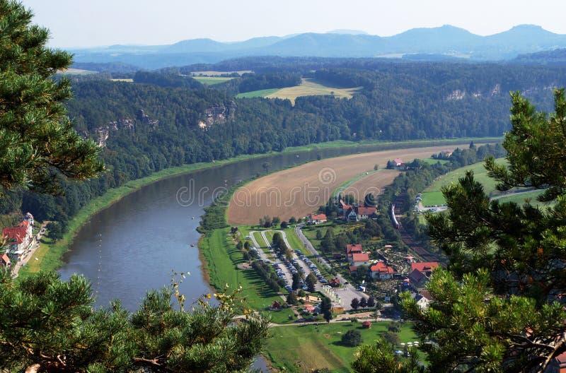 Saxon Switzerland. View on the Elba River. Mountains, town, forest royalty free stock photo