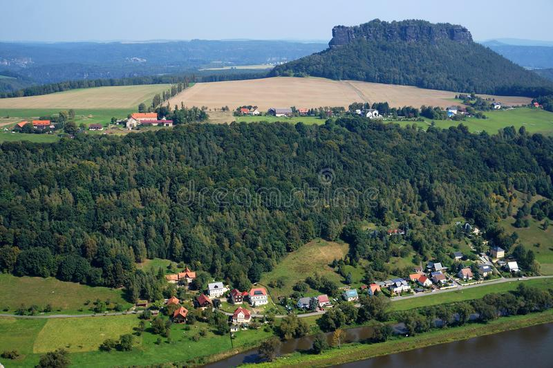 Saxon Switzerland. View on the Elba River. Mountains, town, forest royalty free stock photography