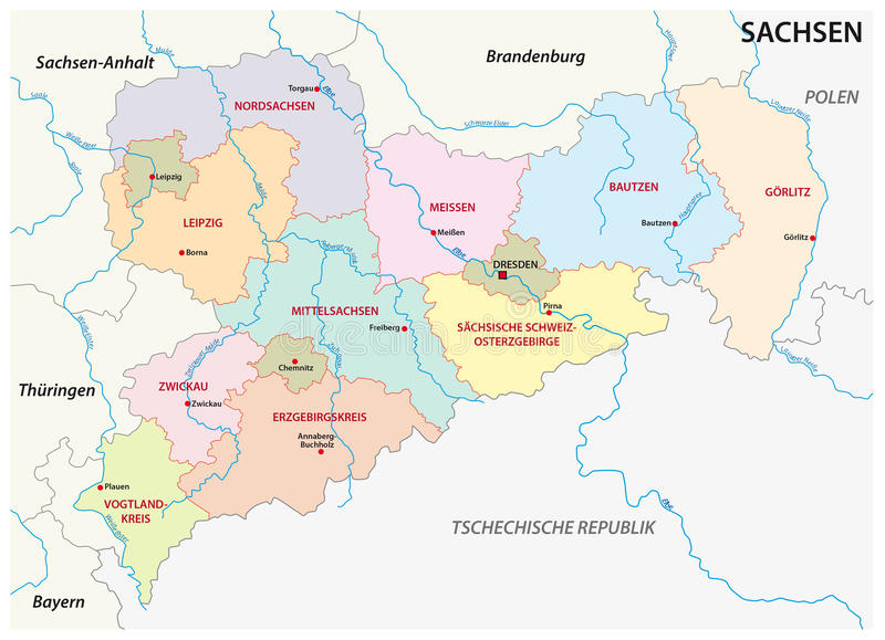 Saxony Administrative And Political Map In German Language Stock