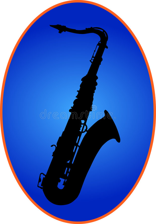 Saxophon Auf Blaurückseite Lizenzfreies Stockfoto