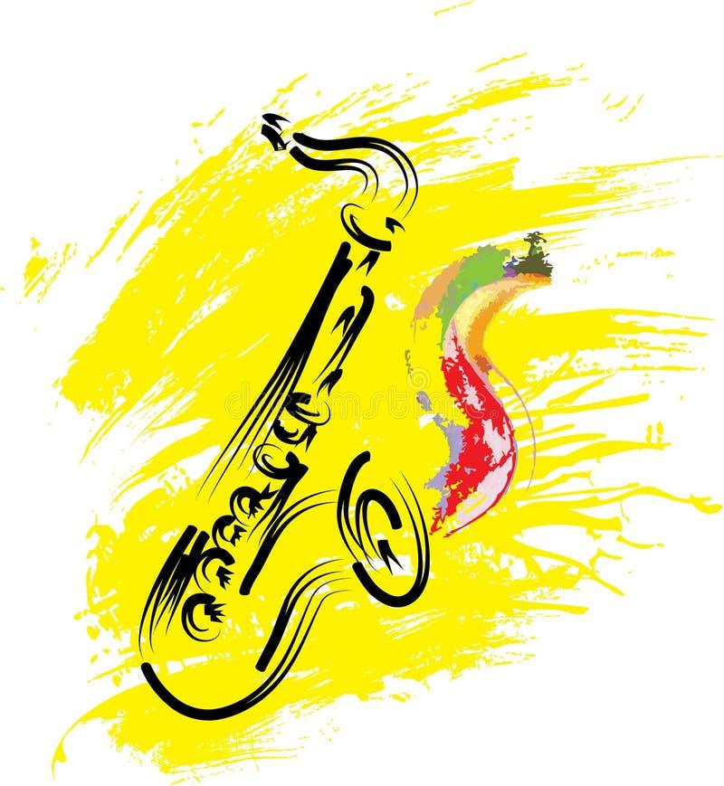 Saxophon auf grunge Hintergrund stock abbildung