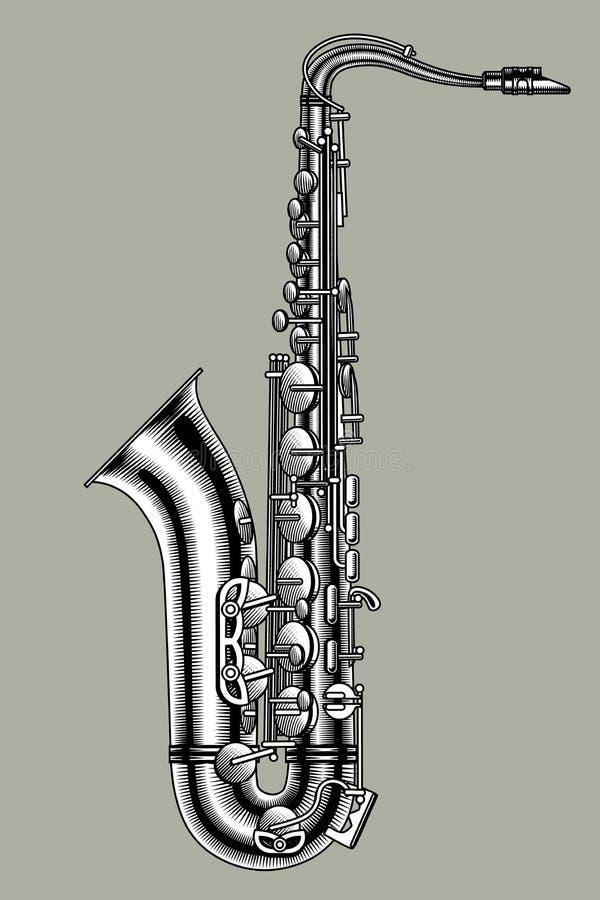 Saxophon in den Schwarzweiss-Farben Weinlesestich stilisiert stock abbildung