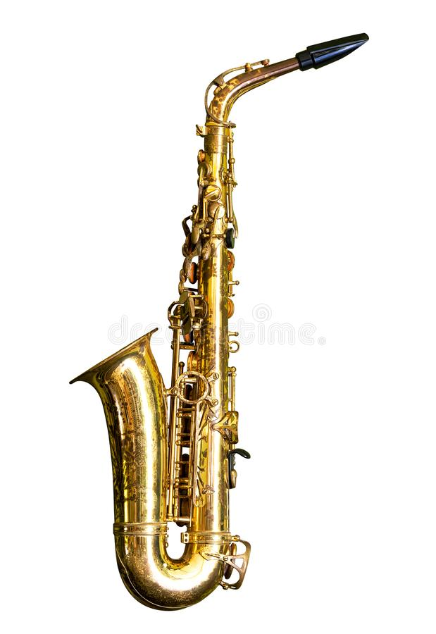 Saxophon getrennt auf Wei? stockfotos