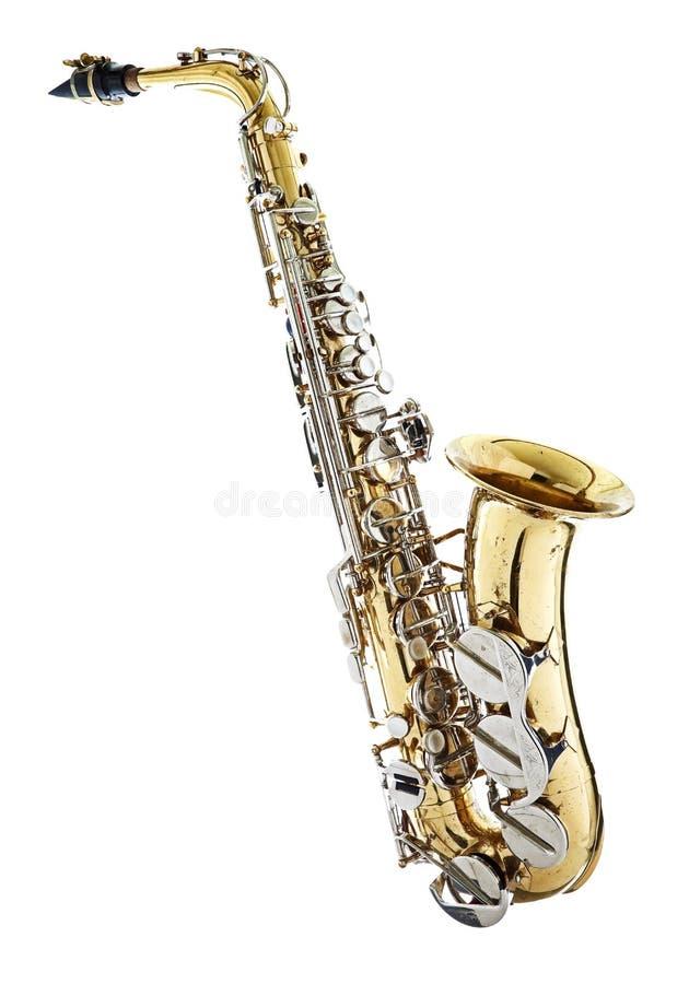 Saxophon-Saxophon getrennt gegen ein weißes backg stockfotografie