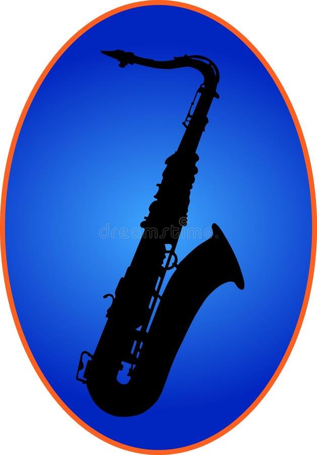 Saxophon sur le dos de bleu illustration stock
