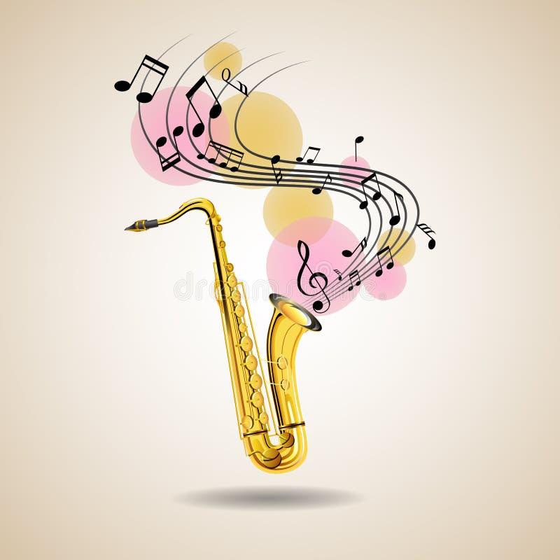 Saxophon- und Musikanmerkungen über Plakat vektor abbildung