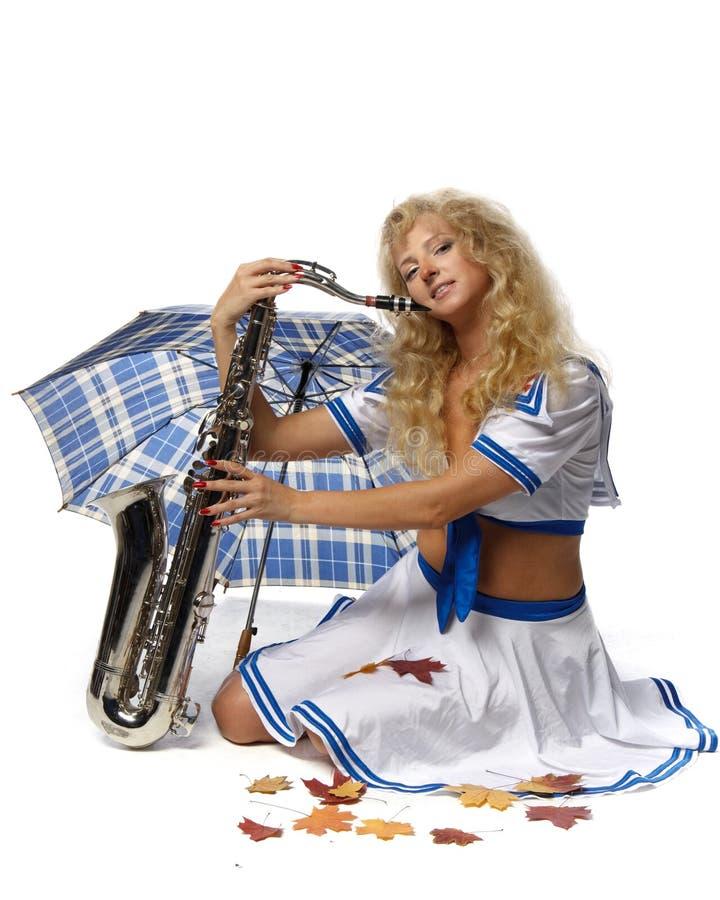 saxophone κοριτσιών στοκ εικόνες με δικαίωμα ελεύθερης χρήσης