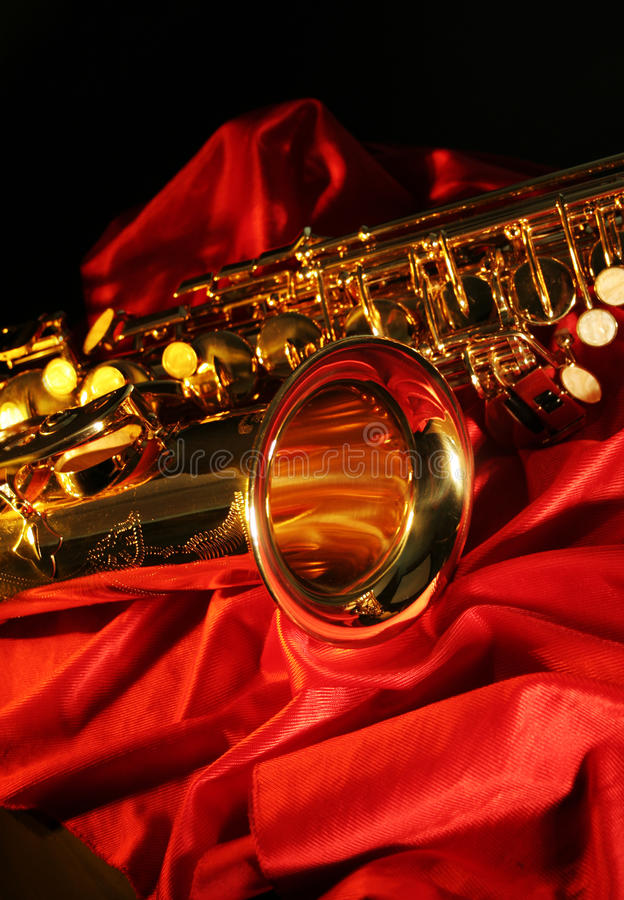Saxophone. Picture of a beautiful golden saxophone stock photo