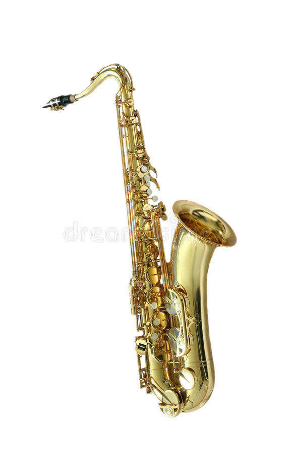 Saxophone. Golden tenor saxophone in front of a white background stock photography
