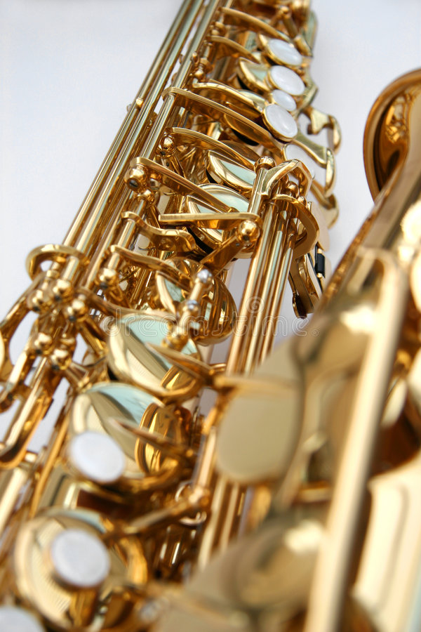 Saxophone 2. A golden alto saxophone royalty free stock images