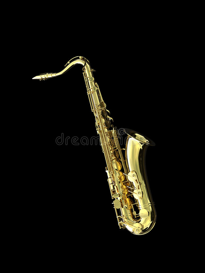 Saxophone. A 3d golden saxophone isolated over black background stock illustration
